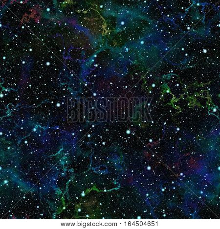 Abstract dark blue universe.  Glittering nebula night starry sky. Shiny outer space.  Galactic texture background. Seamless illustration.