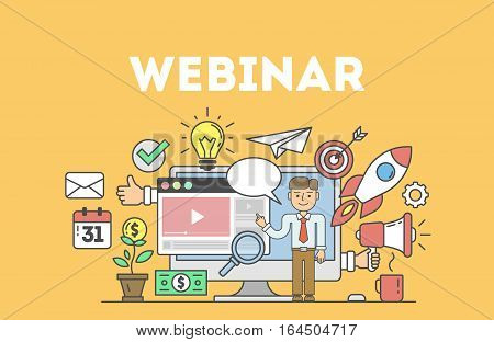 Online education concept with icons. Idea of business webinar, distance education.