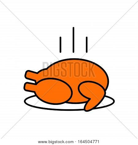 Sign of grilled chicken roast turkey. Vector Linear flat