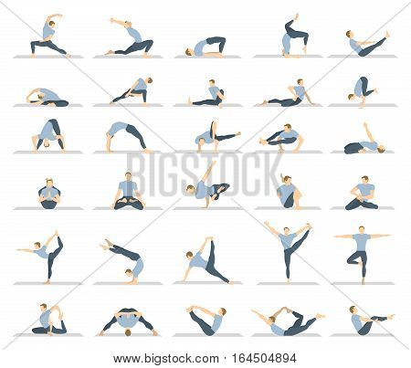 Yoga workout for men set on white background. Different poses and asanas.