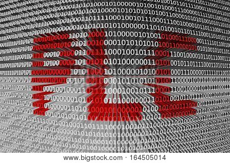 PLC in the form of binary code, 3D illustration