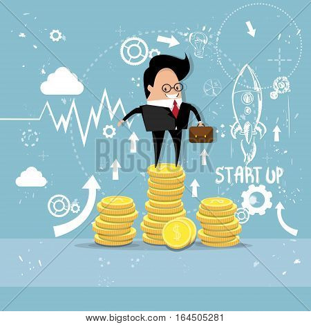 Business Man Project Successful Startup Earn Money Flying Rocket Flat Vector Illustration