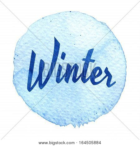 Blue Watercolor Circle With Word Winter Isolated On A White Background.