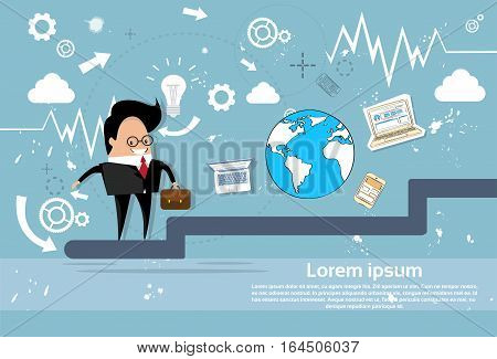 Business Man Walking Stairs Up Successful Goal Flat Vector Illustration