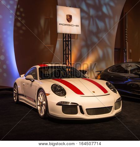 DETROIT MI/USA - JANUARY 8 2017: A Porsche 911 R car at The Gallery, an event sponsored by the North American International Auto Show (NAIAS) and the MGM Grand Detroit.
