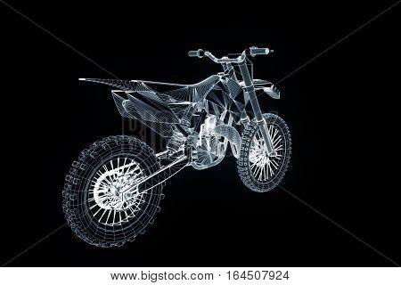 Motorbike in Hologram Wireframe Style. Nice 3D Rendering