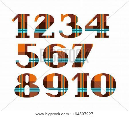 Figures, plaid, vector, brown. Colored, flat figures with serifs. Blue-green bands on orange - brown background.