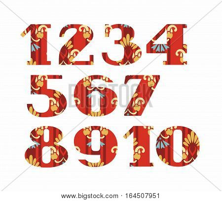Numbers, gold flowers, vector, red.  Colored, vector figures with serifs. Gold and blue flowers on red striped background. Imitation of gold embroidery.