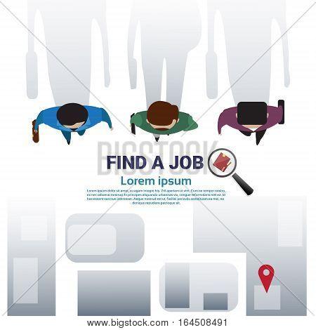 Business Man Group Find Job Curriculum Vitae Recruitment Candidate Position, CV Profile Flat Vector Illustration