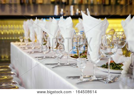 banquet table before the event, selective focus