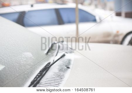 Icy Car In The Winter.