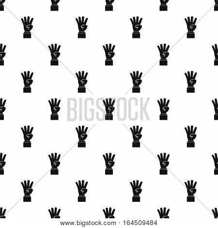 Hand gesture four fingers pattern. Simple illustration of hand gesture four fingers vector pattern for web