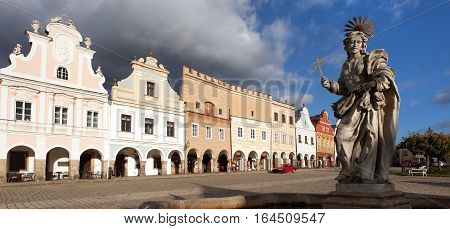 view of statue of st. Margaret on Telc or Teltsch town square Czech republic. World heritage site by unesco