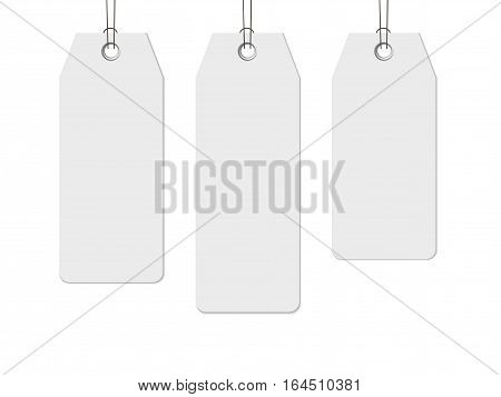 Blank paper label or cloth tag with shadow set isolated on white background, price tag realistic vector template