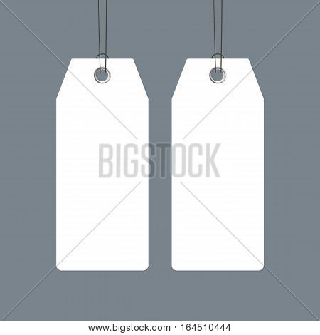 Blank price tags set design over grey background, realistic vector template