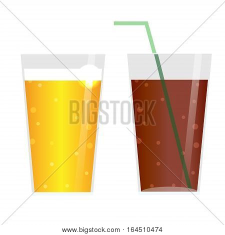 Glasses with beer cider lemonade or ice tea.Carbonated Drinks icons isolated design elements
