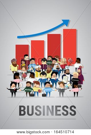 Group of Business People Over Financial Graph Arrow Up Success Businesspeople Mix Race Diverse Flat Vector Illustration