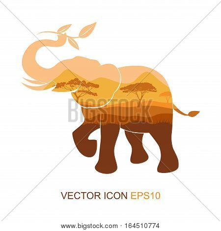 Elephant symbol.Vector illustration. elephant picture tea and sprigs. South nature. Silhouette of an elephant. Logo for tea. Flat icon.