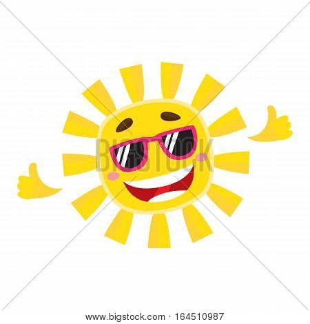 Smiling, cheerful sun wearing sunglasses, cartoon vector illustration isolated on white background. Cute and funny sun character in sunglasses showing thumb up, symbol of summer and vacation