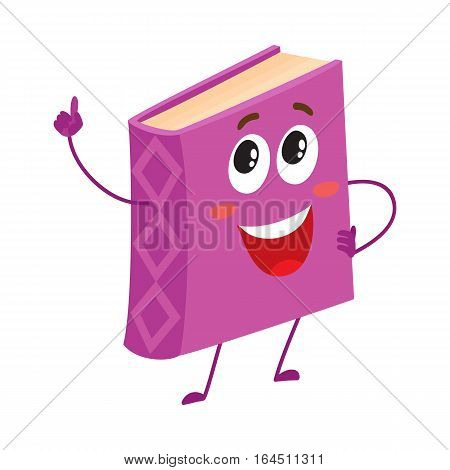 Funny book character pointing up with index finger, cartoon vector illustration isolated on white background. Purple, violet book pointing up and standing proudly, school, education concept
