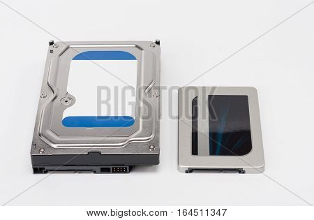 Internal Hard Drive And Solid State Drive Disk On White