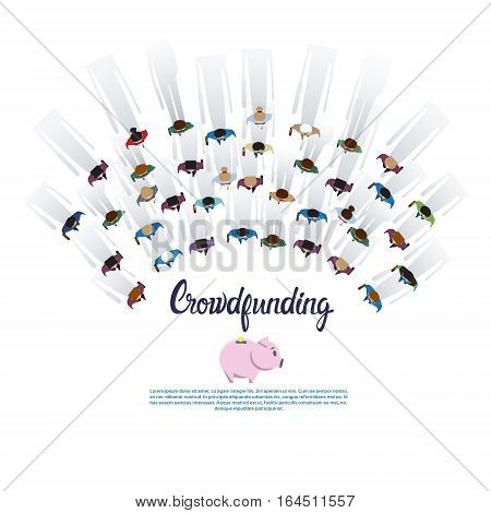 Business People Group Crowd Funding Investment Concept Flat Vector Illustration