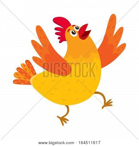 Funny cartoon red and orange chicken, hen surprised or jumping from happiness, cartoon vector illustration isolated on white background. Cute and funny colorful chicken looking up and raising wings