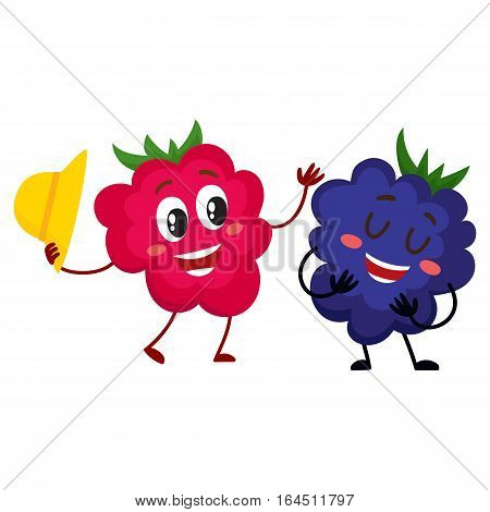 Cute and funny comic style raspberry and blackberry characters, cartoon vector illustration isolated on white background. Red and ripe raspberry character, mascot greeting blackberry with hat off