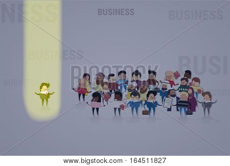 Businessman Stand Out From Crowd, Spotlight Hire Mix Race Human Resource Recruitment Candidate People Group Business Team Vector Illustration