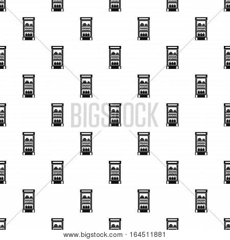 Refrigerator with products in store pattern. Simple illustration of refrigerator with products in store vector pattern for web