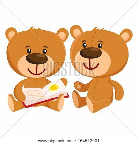 Two cute traditional, retro style teddy bear characters sitting and reading a book, cartoon vector illustration isolated on white background. Teddy bear characters reading book together