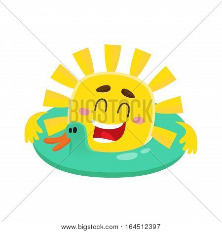 Smiling, happy sun swimming in duck shaped floating ring, cartoon vector illustration isolated on white background. Funny sun character with safery ring, symbol of summer and vacation