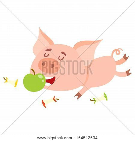 Funny little pig lying and eating apple with three more stumps around, cartoon vector illustration isolated on white background. Cute little pig eating apple, overeating concept