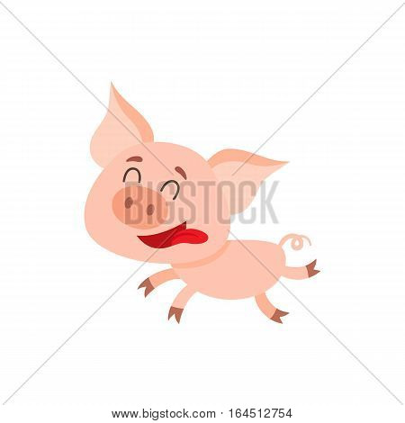 Funny little pig running with tongue out and eyes closed, cartoon vector illustration isolated on white background. Cute little pig running on four legs excitedly, decoration element
