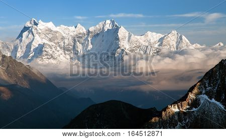 Evening panoramic view of mounts Kangtega and Thamserku fromm Gokyo Ri Everest area Khumbu valley Nepal