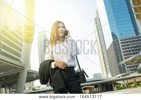 Asian Business Woman Use Wireless Smartphone