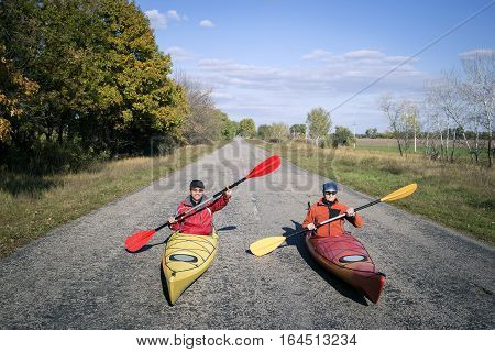 Merry pastime in a canoe in the summer.