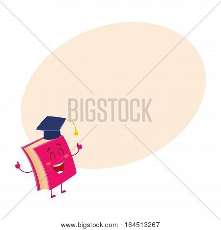 Funny book character in graduation cap showing thumbs up, cartoon vector on background with place for text. Red book wearing graduation cap, eyes closed in happiness, school, education concept