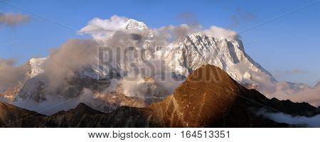 Evening panoramic view of mount Everest and Lhotse with beautiful clouds on the top from Gokyo Ri - Everest area Khumbu valley Nepal