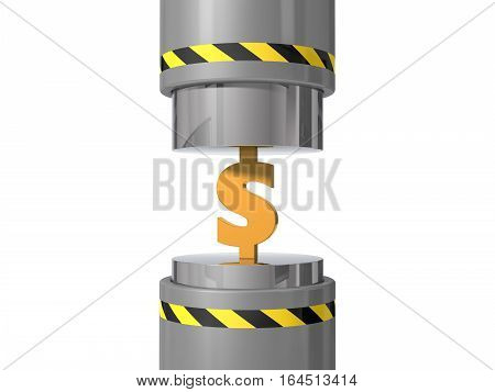 3d illustration of hydraulic press. crushing dollar symbol. suitable for crushing under press trends.