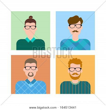 Business People Group Icon Set Man Businesspeople Team Flat Vector Illustration