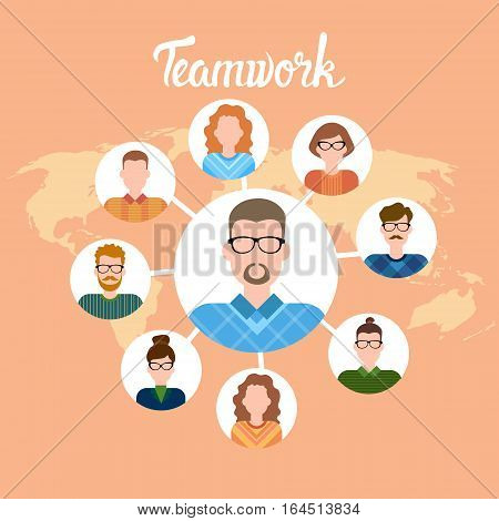 Business People Cartoon Character Set Man Woman International Worker Collection Flat Vector Illustration