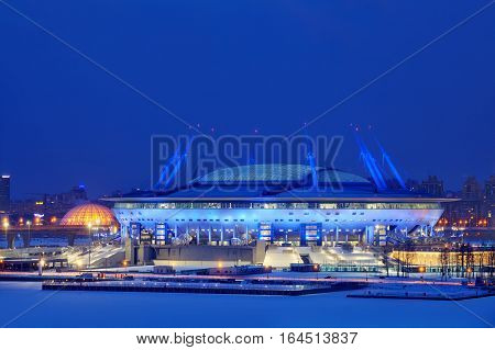 Saint-Petersburg Russia - January 2 2017: Night illumination 2018 Soccer World Cup stadium in St. Petersburg Zenit Arena Football Stadium.