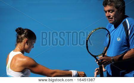 MELBOURNE, AUSTRALIA - JANUARY 16: Dinara Safina (L) of Russia at a practice session ahead of the 2010 Australian Open at Melbourne Park on January 16, 2010 in Melbourne, Australia