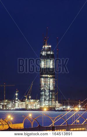 Saint-Petersburg Russia - January 3 2017: Under construction skyscraper Lakhta Center night view winter.