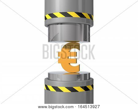 3d illustration of hydraulic press. crushing euro symbol. suitable for crushing under press trends.