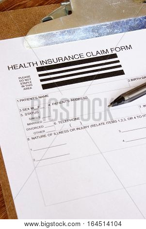 A closeup of a blank health insurance claim form for a patients information.