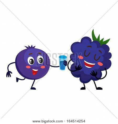 Cute and funny comic style blueberry character offering drink to blackberry, cartoon vector illustration isolated on white background. Blackberry and blueberry berry characters, mascots
