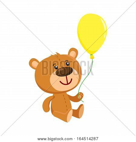 Cute retro style teddy bear character sitting and holding a yellow floating balloon, cartoon vector illustration isolated on white background. Teddy bear character with yellow balloon
