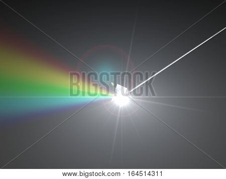 3d illustration of prism and refraction light rays. with light beams.